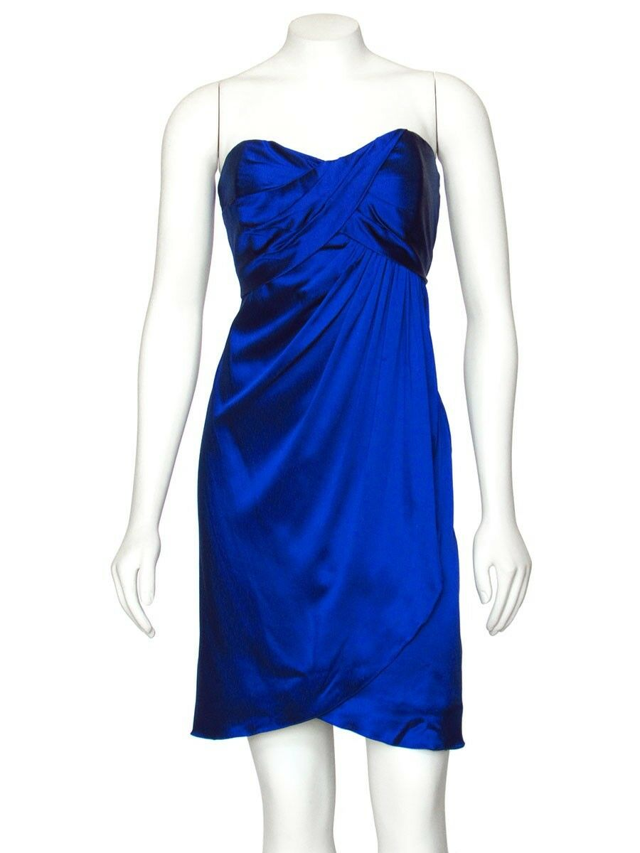 PRICE rotUCED  Nicole Miller Cobalt Blau Silk Charmeuse Strapless Dress sz 8