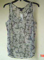 French Connection Black White Sequin Tank Blouse Size 8 $98