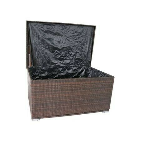 Ravena Outdoor Wicker Storage Ottoman - Brown