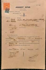 (n12396) Singapour District Court Judgment Notice 1915 (endommagé, Papier-afficher Le Titre D'origine