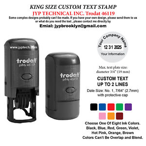 Details About Trodat 46119 Round Rubber Self Inking Stamp 2 Lines Text And Date