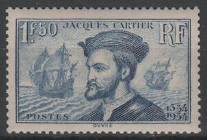 FRANCE-STAMP-TIMBRE-N-297-034-JACQUES-CARTIER-BATEAU-CANADA-1F50-034-NEUF-xx-SUP-K460