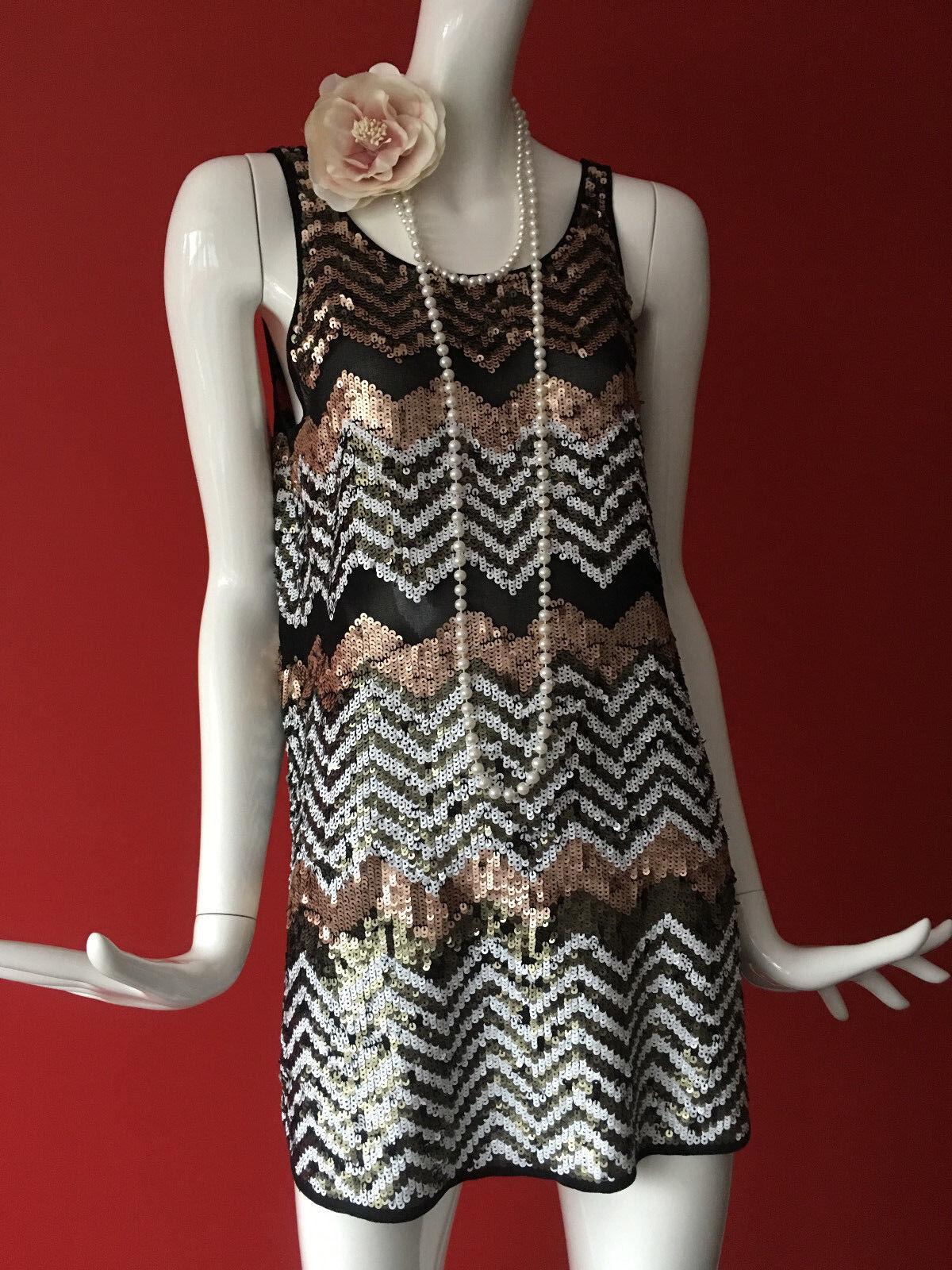 River Island Sequin Flapper Gatsby 1920s Charleston Party Mini Dress