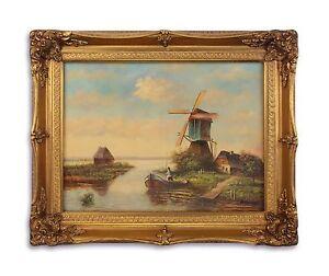 9973260-ds Öl-Gemälde/Holz Holz/Resin-Goldstuck-Rahmen Romantische Mühle neu