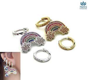 Orecchini asimmetrici da donna cerchio arcobaleno zirconi cerchietti mini hoop