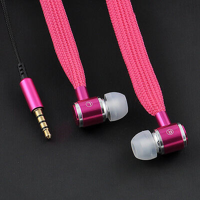 3.5mm In-Ear Shoelace Earbuds Mic Stereo Earphone Headset Headphone For iPhone