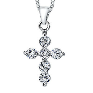 925-Sterling-Silver-CZ-Cross-Pendant-Necklace-Includes-18-034-Sterling-Silver-Chain