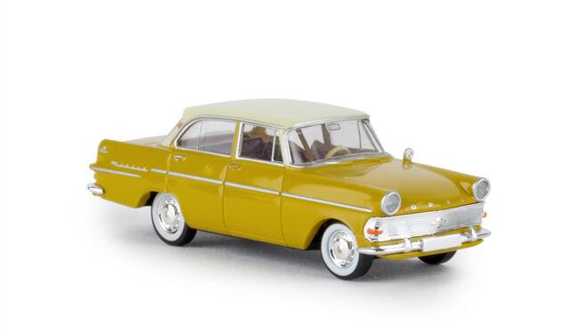 Opel Rekord P2 Limousine Yellow/Ivory, Td, H0 Car Model 1:87, Brekina 20190