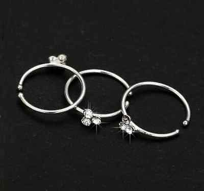 Small Thin 3Crystal Design Diamante Nose Ring Hoop Stud-Sparkly Crystal NoseRing