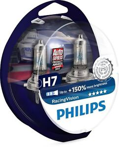 2-x-H7-Philips-Racing-Vision-150-more-light-12972RV-S2-Headlight-Bulbs-DuoBox