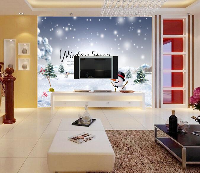3D Winter-Schneemann 344 Fototapeten Wandbild Fototapete BildTapete Familie DE