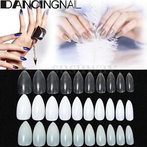 Image Is Loading 600PC Oval Stiletto Pointy Full False Nail Art