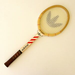 Détails sur Raquette Tennis bois ancienne ADIDAS Ilie Nastase Manche L4 38 Housse pub