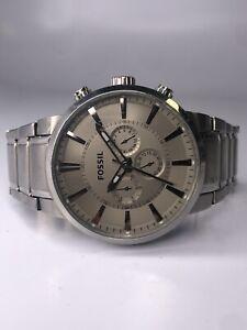 Fossil Fs 4359 Men 50m Silver Steel Analog Quartz Chrono Watch Hours New Battery 796483130623 Ebay