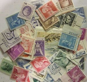 USA Older Postage Stamp definitive type Lots, 50 MNH all different 1 to 19 CENT