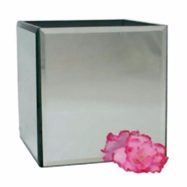 Mirror Cube Vase 12 Cm Glass Home Flower Holder Decoration To Paint