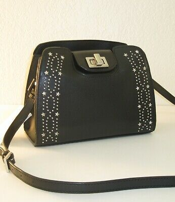 Details about Calvin Klein Clementine Black Studded Leather Crossbody Bag $198