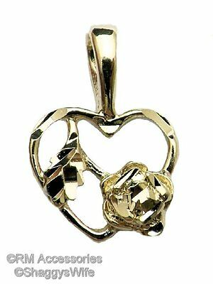 Rose in Heart Charm / Pendant EP Gold Plated Jewelry with a Lifetime Guarantee!