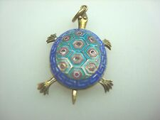 Silver TURTLE PENDANT, Blue and Turquoise Enamel Finish, Moving parts!