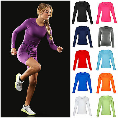 Schneidig Ladies Womens Base Layer Long Sleeve Compression Armour Top Thermal Gym Sports 100% Garantie