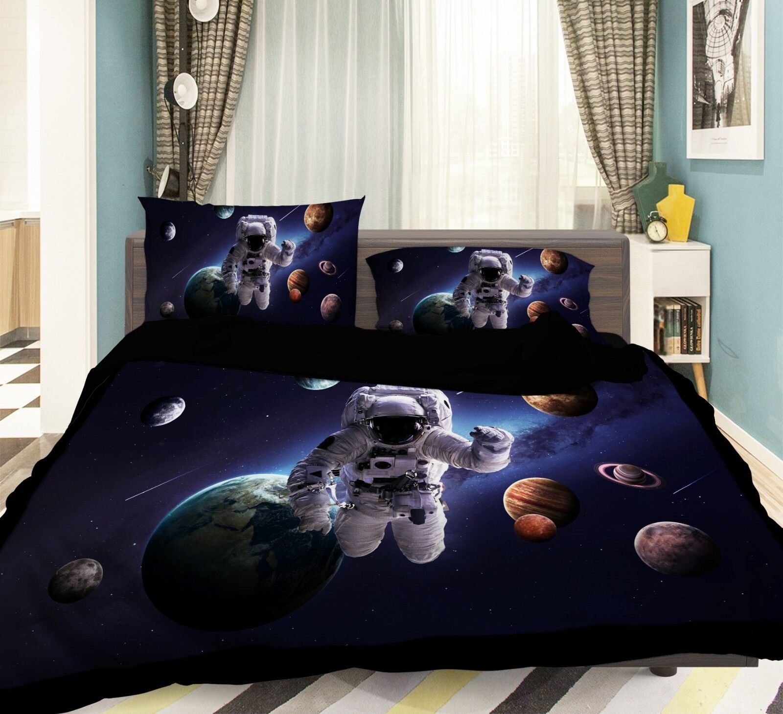 3D Universe Earth 58 Bed Pillowcases Quilt Duvet Cover Set Single Queen AU Carly