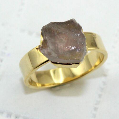 Natural Raw Tanzanite Péridot Quartz Rose Or 24k GALVANISE Ring Jewelry
