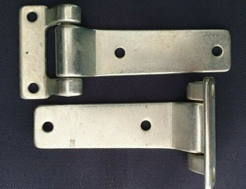 A Pair 134mm x 3.6mm  Heavy Duty T Hinges Fixed Pin Zinc Plated Steel 2 Hinges