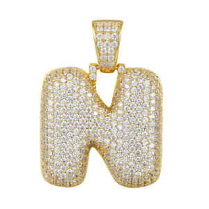 Bubble design letter n pendant custom charm 14k gold finish iced out image is loading bubble design letter n pendant custom charm 14k aloadofball Choice Image
