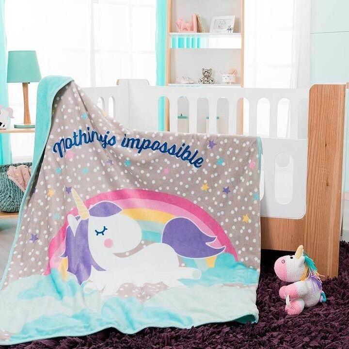 Unicorn Fleece Blanket Baby Shower Soft Sherpa bedding Rainbow Girl BEST SELLER
