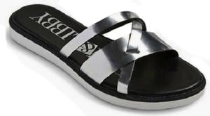 Women's Sam & Libby Jamie Slide Sandals - Silver 7 - New Item
