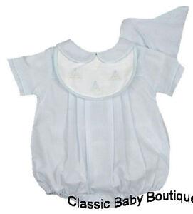 99e42d22e NWT Petit Ami Blue Sailboat Bib Romper Preemie Hat Baby Boys Bubble ...