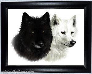 schwarz wei w lfe bild foto gerahmt geschenk bild poster druck f r wolf fan ebay. Black Bedroom Furniture Sets. Home Design Ideas