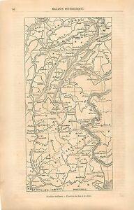 Carte-Frontiere-France-Grenoble-Jura-Alpes-Italie-GRAVURE-ANTIQUE-OLD-PRINT-1860