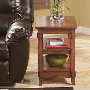 Cross Island Chair Side End Table Medium Brown Signature Design by