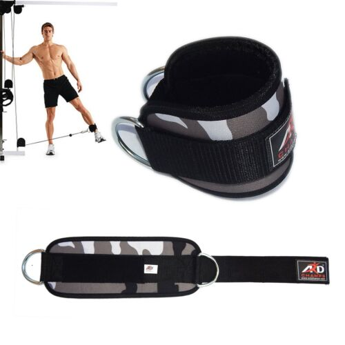 Gym Exercise Ankle Strap Weight Lifting Fitness D Ring Cable Attachment-Wht Camo