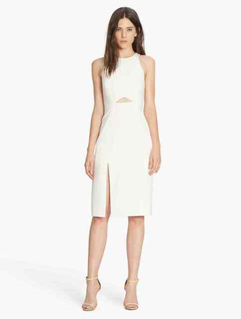 New W Tags Halston Heritage Slim Sheath Dress Sz 8 Chalk Off White Cut