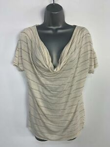 WOMENS-MONSOON-BEIGE-STRIPED-SHORT-SLEEVE-CASUAL-SUMMER-T-SHIRT-TOP-SIZE-UK-12