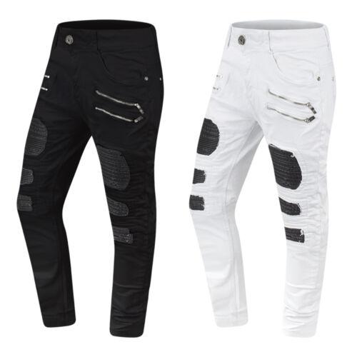 NEW Men Biker Denim Jeans PU Stacked Pants Double Needle Sizes 30-38 Black White
