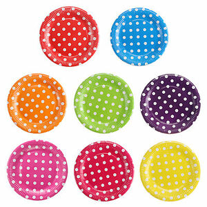 Image is loading 9-034-Polka-Dots-Paper-Plates-Kids-Birthday-  sc 1 st  eBay & 9
