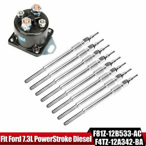 8 Motorcraft Glow Plugs and 1 Glow Plug Relay for 94-03 7.3L Superduty