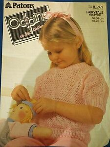 Patons-Odpins-Girl-039-s-Short-Sleeved-Sweater-Knitting-Pattern-7970
