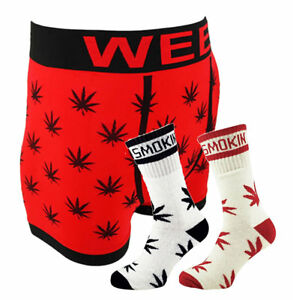 Men's GANJA WEED CANNABIS 420 LEAF Boxer Shorts / Stay Smokin Socks Set