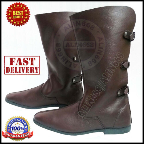 MEDIEVAL LEATHER BOOTS RENAISSANCE VIKING PIRATE SHOE MENS BROWN LONG SHOES