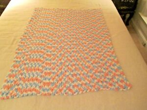 Vintage Hand Crocheted Pink   Blue Pastel Baby AFGHAN Lap Throw ... ac2663a26