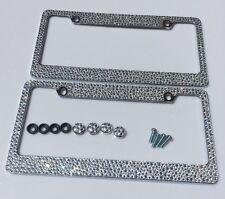 2 License Plate Frames Screw Cap Crystal Diamond Rhinestone Bling Mix Clear