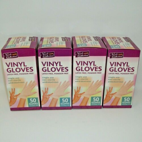 4 Boxes Nicole Home Collection Vinyl Gloves Powder Free One Size 50 Count NEW
