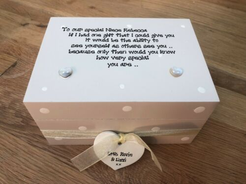 Shabby Personalised Chic Special Neice Gift Trinket Jewellery Box Or Cousin