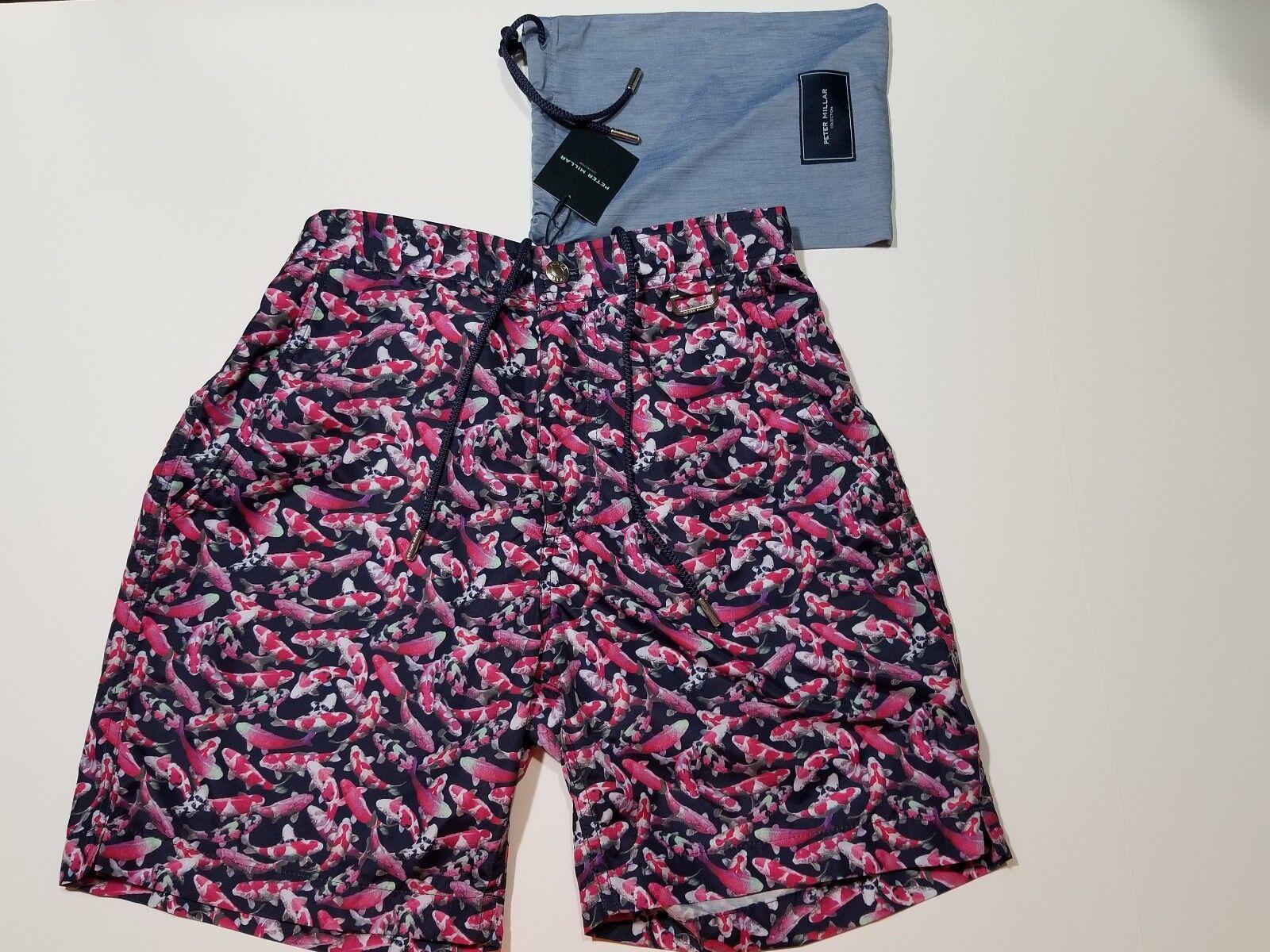 Peter Millar Koi Print Swim Trunk with Carry Bag - Small - Retail