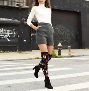 30cb54d83df Details about Sam Edelman Vena Black Floral Embroidered Suede Over The Knee  Boots 6