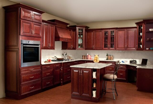 Miraculous All Solid Maple Wood Kitchen Cabinets 10X10 Rta Jsi Georgetown Cherry Stained Beutiful Home Inspiration Truamahrainfo